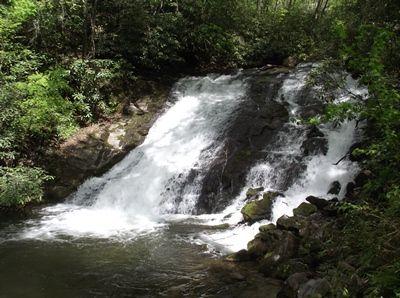 Indian Creek Falls-part of the Deep Creek Falls on the Indian Creek Loop. Located 10 miles south of Cherokee. 45 foot falls.
