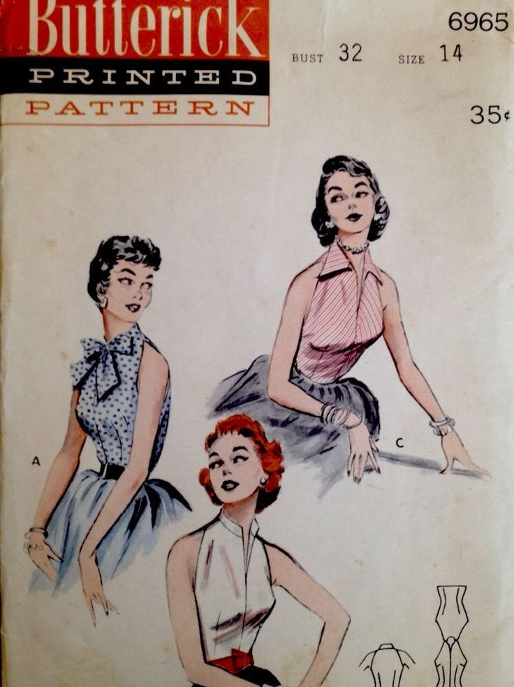 1950's Vintage Bare-Armed Dressy Evening Blouses Butterick Sewing Pattern #6965