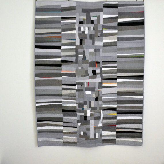 Gray Quilt, Monochromatic Quilt, Modern Quilt, Grey Lap Quilt, Geometric Quilt, Art Quilt
