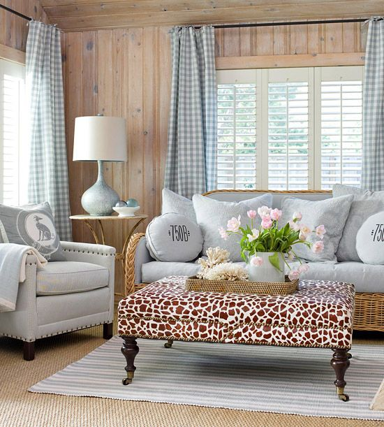 "cottage style, but a pop of elegance shows with the fab print on the coffeetable/ legrest/ ""whateveryouwanttocallit"". ;-)"