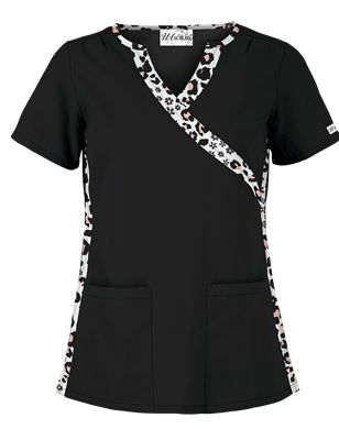 MedicalCareerSite.com UA Ch-Ch-Cheetah White Scrub Top....Follow Best Nursing Uniforms:   https://www.pinterest.com/medicalcareer/best-nursing-uniforms/