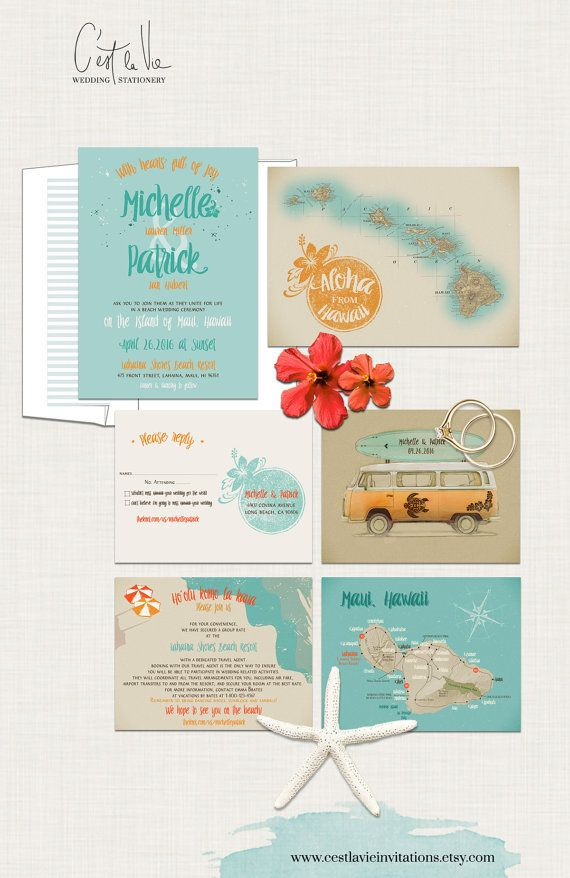 how to make film canister wedding invitations%0A Hawaii Wedding Invitation Maui Wedding  Retro Volkswagen Bus Surfboard  Vintage Map Aloha Turquoise Blue
