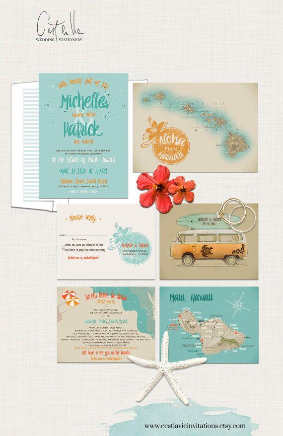 wedding invitations map%0A Destination wedding invitation Hawaii Wedding Invitation Maui Wedding   Retro Bus Surfboard Turquoise Blue Orange colors  Deposit Payment