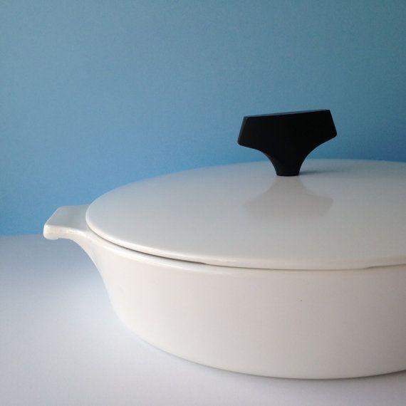 "NEW LISTING: midcentury vintage baking dish w/ lid | skillet casserole white glass corningware 8.5"" tab handles"