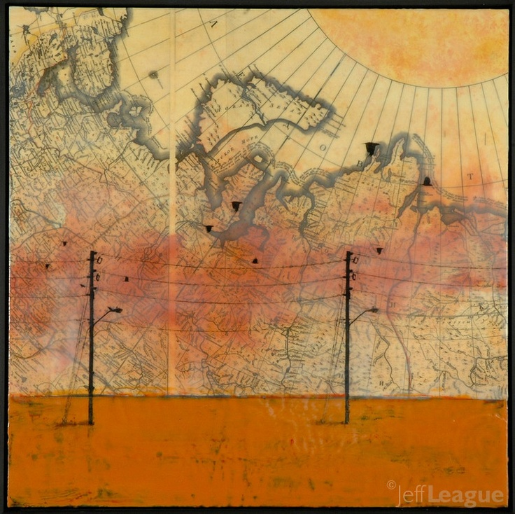 Antique map photo transfer mixed media encaustic painting. Jeff League