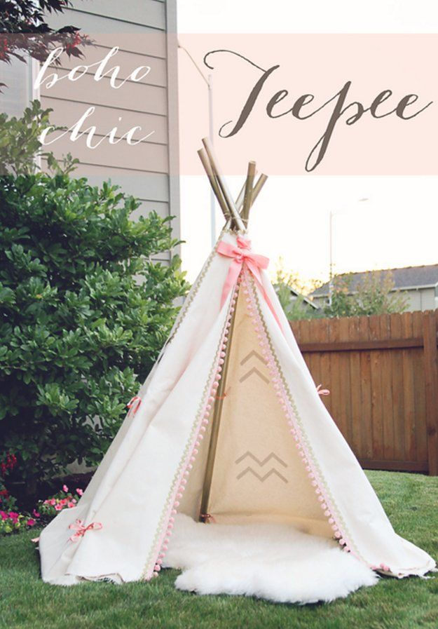 Boho Chic Teepee DIY | 12 Fun DIY Teepee Ideas for Kids , see more at: http://diyready.com/fun-and-exciting-diy-teepee-ideas-for-kids/