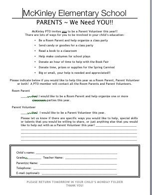 Reach out to parents and ask for volunteers  for next year.