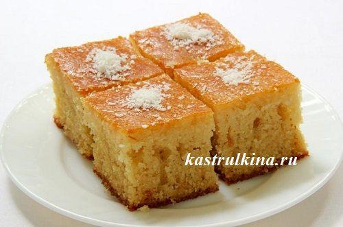 Турецкий пирог с манкой ревани