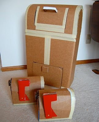 Tips for working with cardboard & 40 more cardboard craft ideas! She suggests using UHU craft glue, tape, scissors, hotglue and a razor blade on this post.