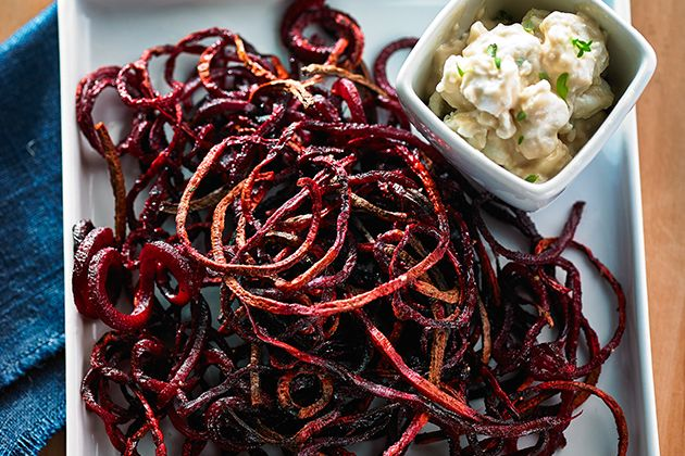 Roasted Beet Strings with Balsamic Goat Cheese Dip made using the KitchenAid® Spiralizer Attachment with Peel, Core and Slice. Click the picture for the recipe and visit http://kitchen.ai/SH0R6 for more information on the Spiralizer Attachment.