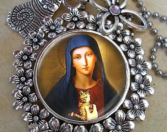 saint of cat lovers | Cat Lover, St. Gertrude of Nivelles ,, Patron Saint of Cats Necklace ...