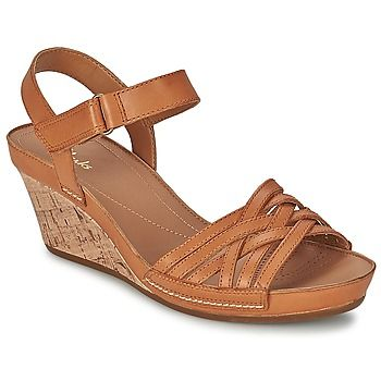 Tan leather sandals with woven straps and cork wedge, by Clarks! #shoes #sandals #wedges #leather #clarks #rubbersole