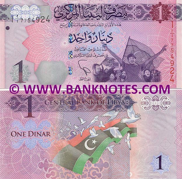 Libya 1 Dinar (2013) Obverse: Cheering Libyan anti-Gaddafi protesters with new Libyan flags. Reverse: New Libyan flag and white doves of peace. Artist: Unknown. Engraver: Unknown. Main colours: Purple, red, blue and green. Watermark: Omar Al-Mukhtar; Electrotype '1'; Reinforced cornerstones. Signature: Gasem Azzoz or Saddek Omar Ali Elkaber (Governor). Issuer: Central Bank of Libya. Date of First Issue: 17 February 2013.