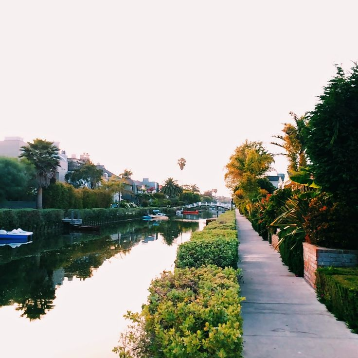 Venice Canals, Los Angeles at Sunset, California