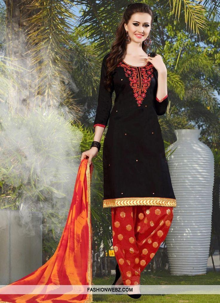Debonair Beads Work Black and Red Cotton  Trendy Patiala Salwar Kameez