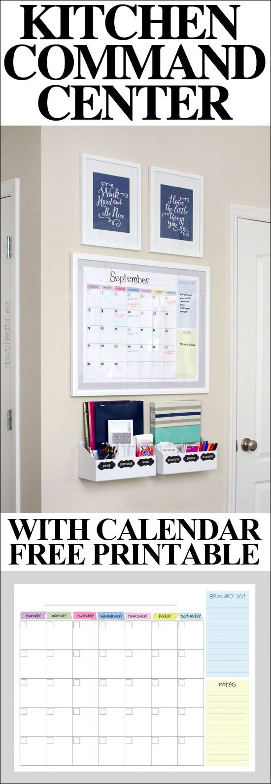 Centre de commande Kitchen command center with FREE calendar printable! The entire thing cost less than $75!