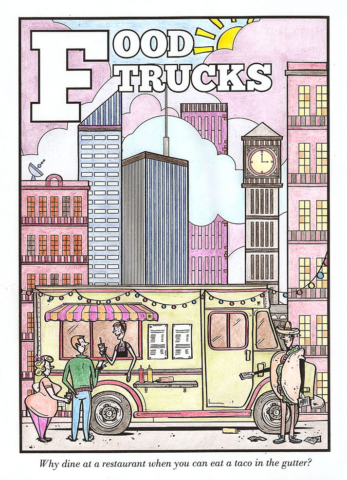 Food Trucks page, from The Foodie's Colouring Book