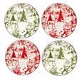 "Certified International® Winter Field Notes Ceramic Appetizer Plates 6"" Red/Green - Set of 4 already viewed"