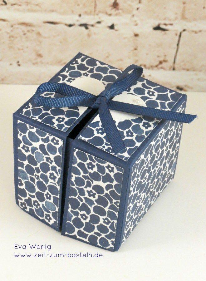 Letztes hatte ich Euch eine besondere Art der Explosion-Box gezeigt, zu der ich Euch heute eine Anleitung nachreichen möchte. Gesehen habe ich die Box ursprünglich bei Stempelmami. Die Box ist marineblau gehalten und mit dem Designerpapier 'Blumenboutique' dekoriert. Sie ist … Weiterlesen →