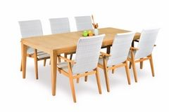 Elegance In-outdoors 9pc Teak Dining Setting with 8ocs new 2018 Elegance Teak+Wicker Hiback Dining Armchair (pictured with 6 chairs)