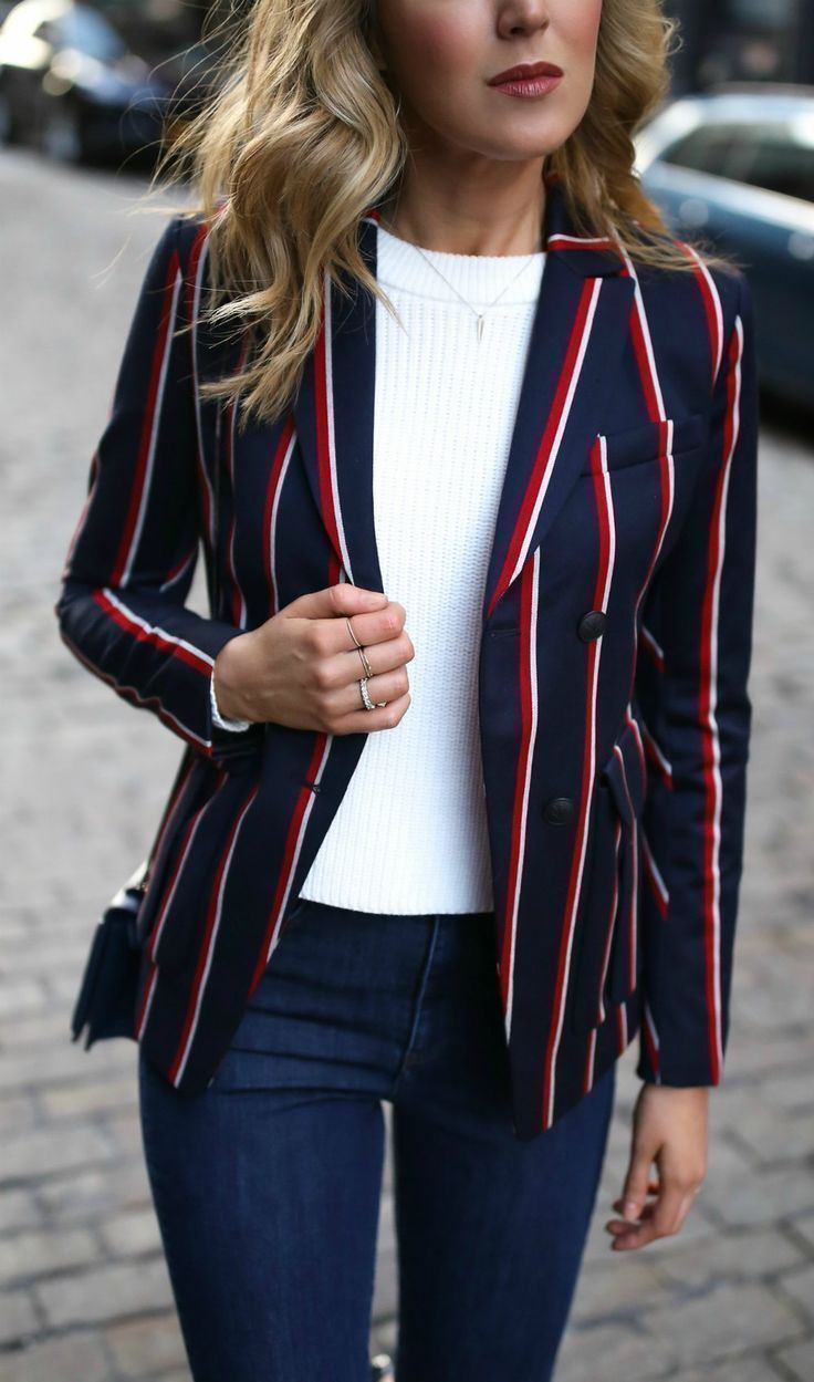 Business casual look with dark wash skinny jeans, navy patent pointy toe pumps, silver circle statement hoop earrings, cropped chunky knit sweater and timeless navy, white and red striped blazer {willow and clay, phillip lim, victoria beckham, argento vivo, and rag and bone}