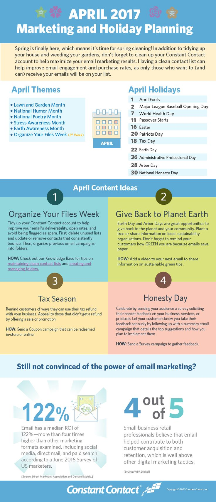 This April, spend some time making sure your email list is spick and span and your email marketing is on the right track.  Make this the month you finally clean out any emails that consistently bounce. Then, send a survey to your subscribers to make sure you're sending what they're looking for.  Use the infographic below to come up with content ideas this month.