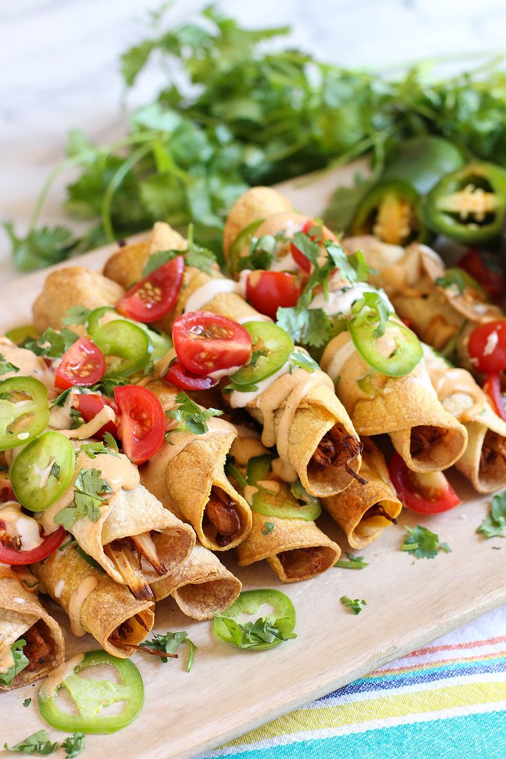 Baked jackfruit taquitos with spicy Southwest dipping sauce - vegan & gluten free