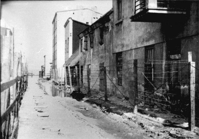 Lodz, Poland, 1940, A fence around the ghetto.
