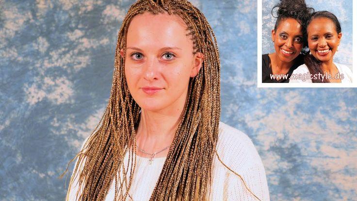 Olga: Superfeine, lange, blonde Rastazöpfe (Braids) kombiniert mit Seite...