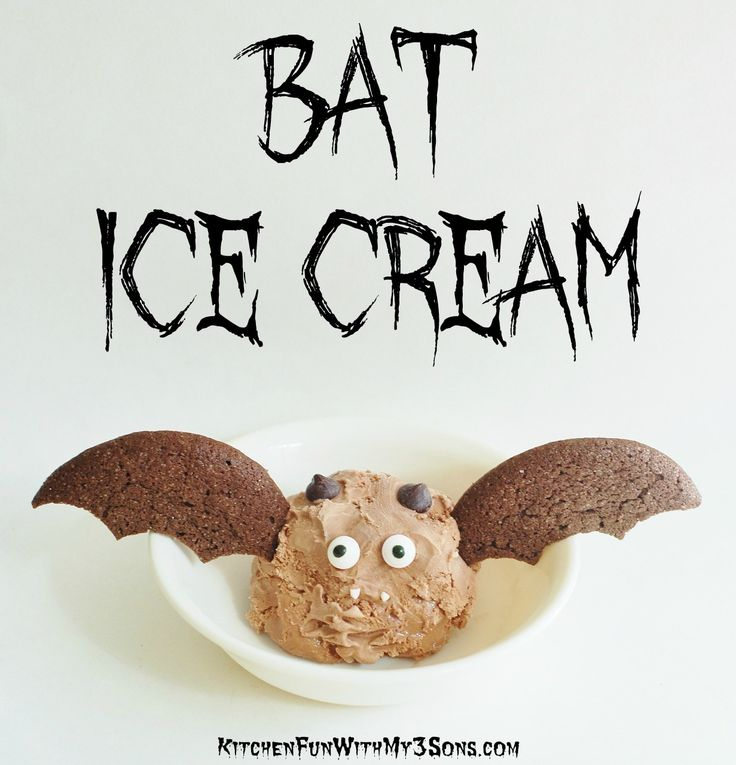 Halloween Bat Ice Cream for a fun & easy Halloween treat from KitchenFunWithMy3Sons.com