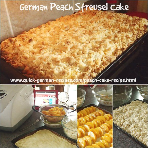 Here's an easy yeast cake to make using plums, peaches, whatever fruit you wish  http://www.quick-german-recipes.com/peach-cake-recipe.html