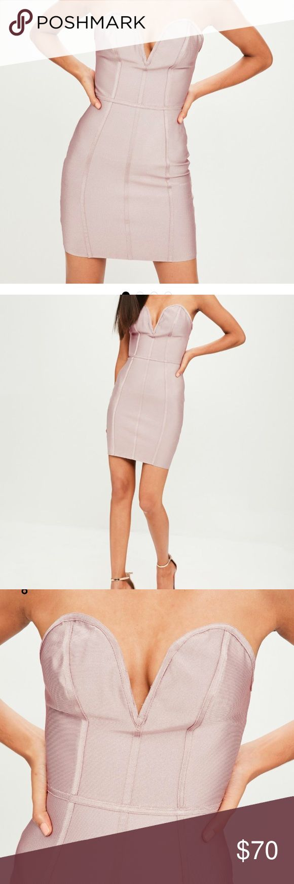 Purple Bandage V Bar Bandeau Bodycon Dress Perfect for homecoming, formal, prom, or a party! New with tags! If you have any questions feel free to ask:) Missguided Dresses Mini