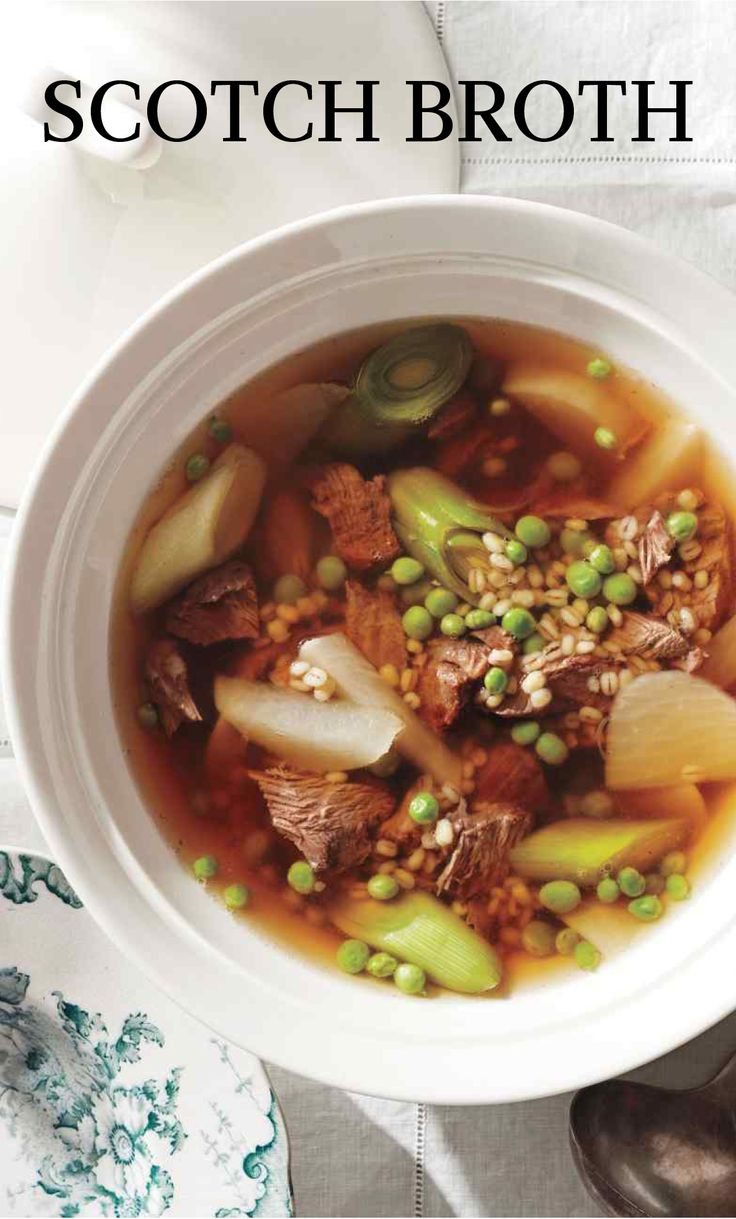 Scotch Broth | Martha Stewart Living - The ultimate antidote for cool spring nights, this old-fashioned farmhouse soup with shredded lamb offers sustenance without the heft. Garden-fresh peas lend a lightness, while turnips (which contain good-for-you fiber) add a mildly sweet bite to the meaty broth.