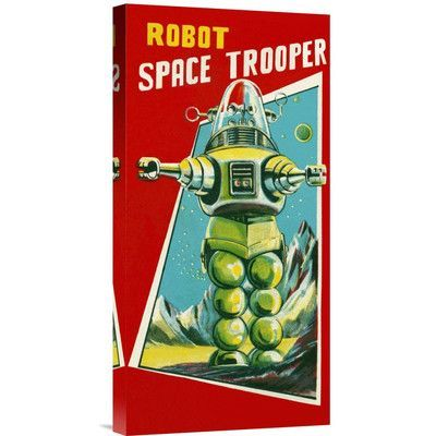 Global Gallery 'Robot Space Trooper' by Retrobot Vintage Advertisement on Wrapped Canvas