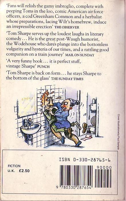 Tom Sharpe WILT ON HIGH  Pan 1985 magnified rear cover image