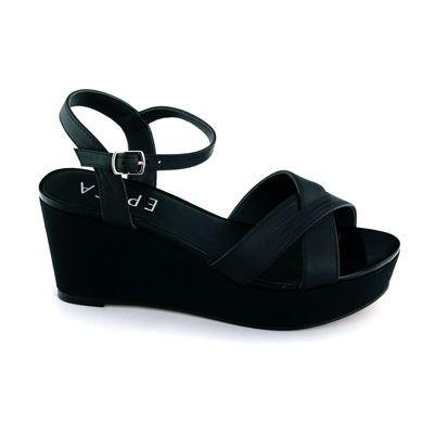 Sandale Epica negre, din piele naturala, cu toc de 7 cm