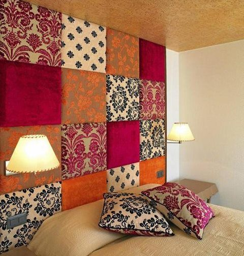 floor to ceiling headboard from 18x18 plywood wrapped in remnant fabric - easy DIY! More at: www.diycozyhome.com