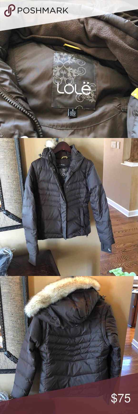 Lole down- filled ski jacket and coverts to vest Chocolate brown Lole ski jacket. Great condition! Duck down filled and converts to vest! Size 6, but fits like a 4. Lole Jackets & Coats Puffers