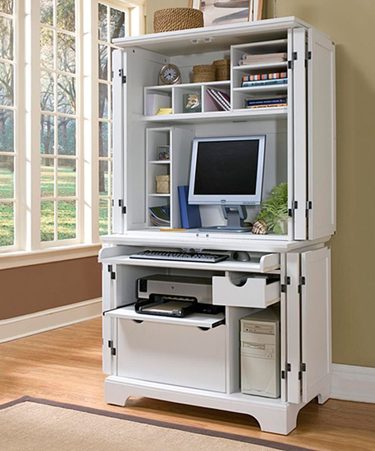 home styles naples compact computer desk and hutch white finish naples compact cabinet and hutch is logical addition to a home that needs an office