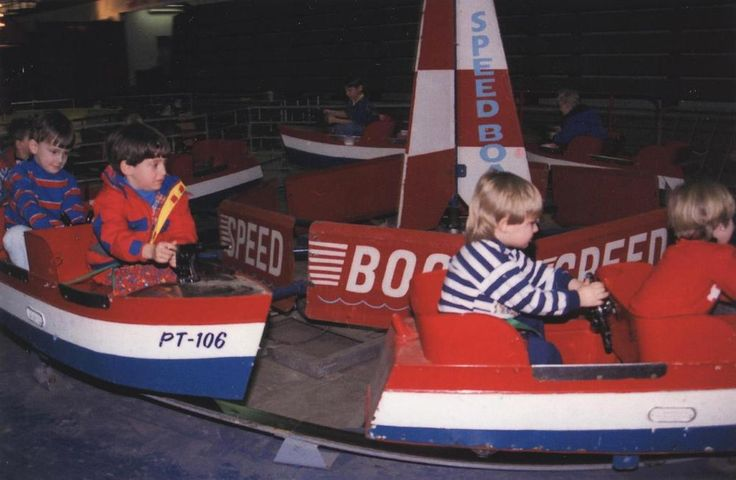 old family photograph album photo | kids at Play |  vintage amusement park boats ride in rochester ny