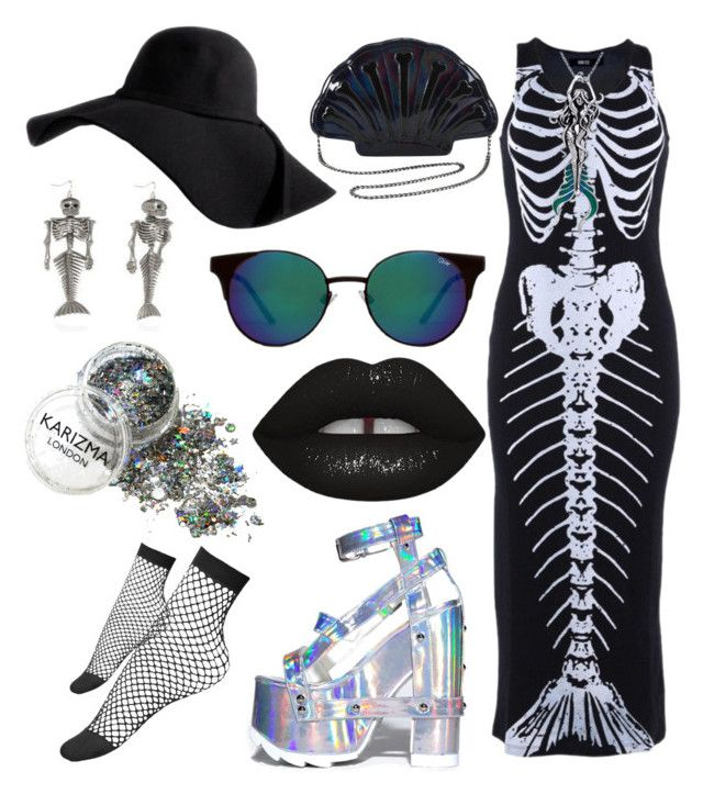 """Dead mermaid"" by kiarametalhead ❤ liked on Polyvore featuring Iron Fist, Quay, Carolina Glamour Collection and Lime Crime"