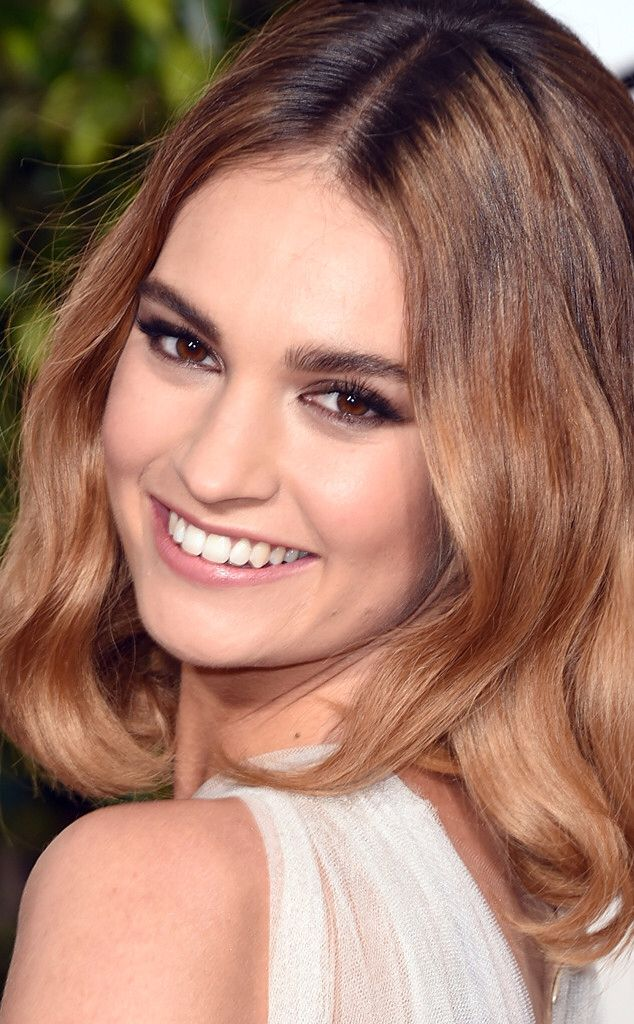 Lily James Golden Globes Makeup DARK GOLDEN BLONDE hair color