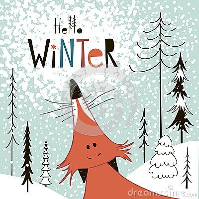 Greeting card: hello winter. Creative hand drawn card for winter holidays with cute fox. Vector hand drawn cartoon illustration.