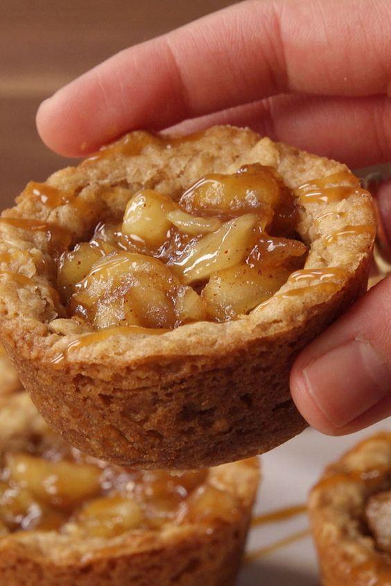 Apple Crisp Cookie Cups - Delish.com