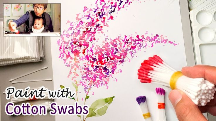 """this technique would be cool to also do with a heart piece of paper, and then """"stamp"""" around it!  Cotton Swabs Painting Technique for Beginners 