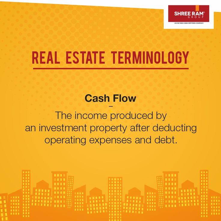 Cash flow is the #income produced by an #investment #property after deducting operating expenses and debt. #RealEstateTerminology