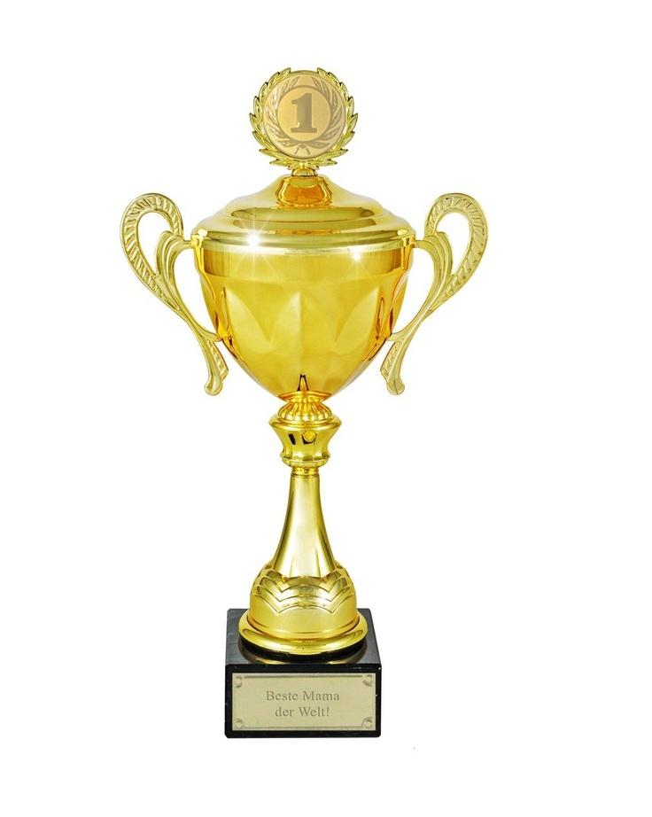 Goldener Pokal als Geschenk mit Gravur