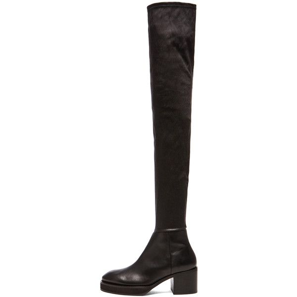 Acne Studios Hiloh Thigh High Leather Boots (€1.135) ❤ liked on Polyvore featuring shoes, boots, over-the-knee boots, over knee boots, over the knee leather boots, stretch leather boots, genuine leather boots and stretch thigh high boots