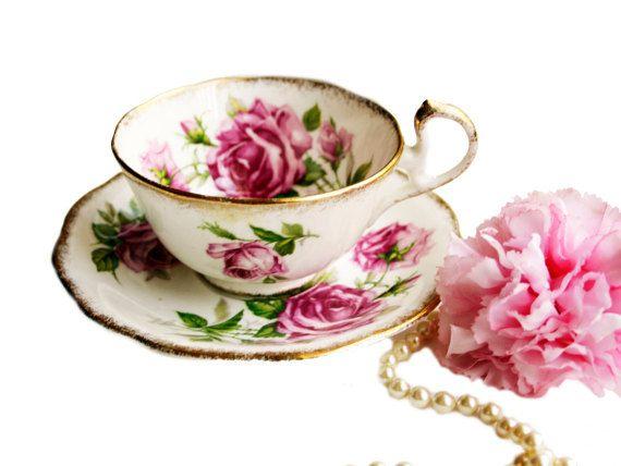 Orleans estándar Real Vintage Rose taza de té, taza de té Floral rosa col Rosa té oro, Vintage, regalo de despedida de soltera para ella