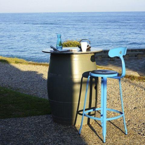 Nicolle Bar Stool - Turquoise Blue Glossy #barstool #steel #customised #colours #industrialstyle #madeinfrance #interiordesign